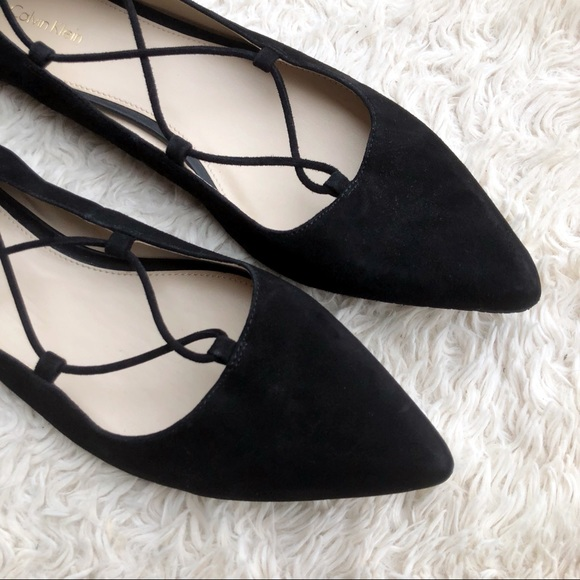 fcb518b071c CALVIN KLEIN✨NWT✨Suede Lace-Up Pointed Toe Flats
